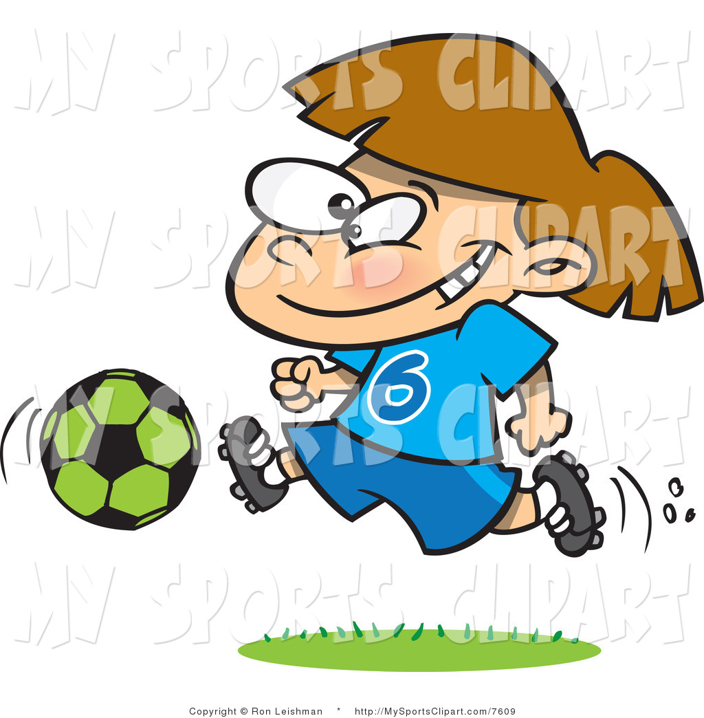 Sports Clip Art Of A Girl Running With A Soccer Ball By Ron Leishman