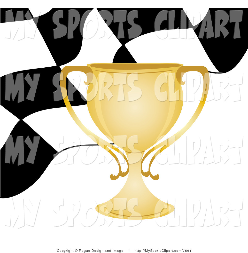 Sports Clip Art Of A Gold Trophy Cup Checkered Flag Background
