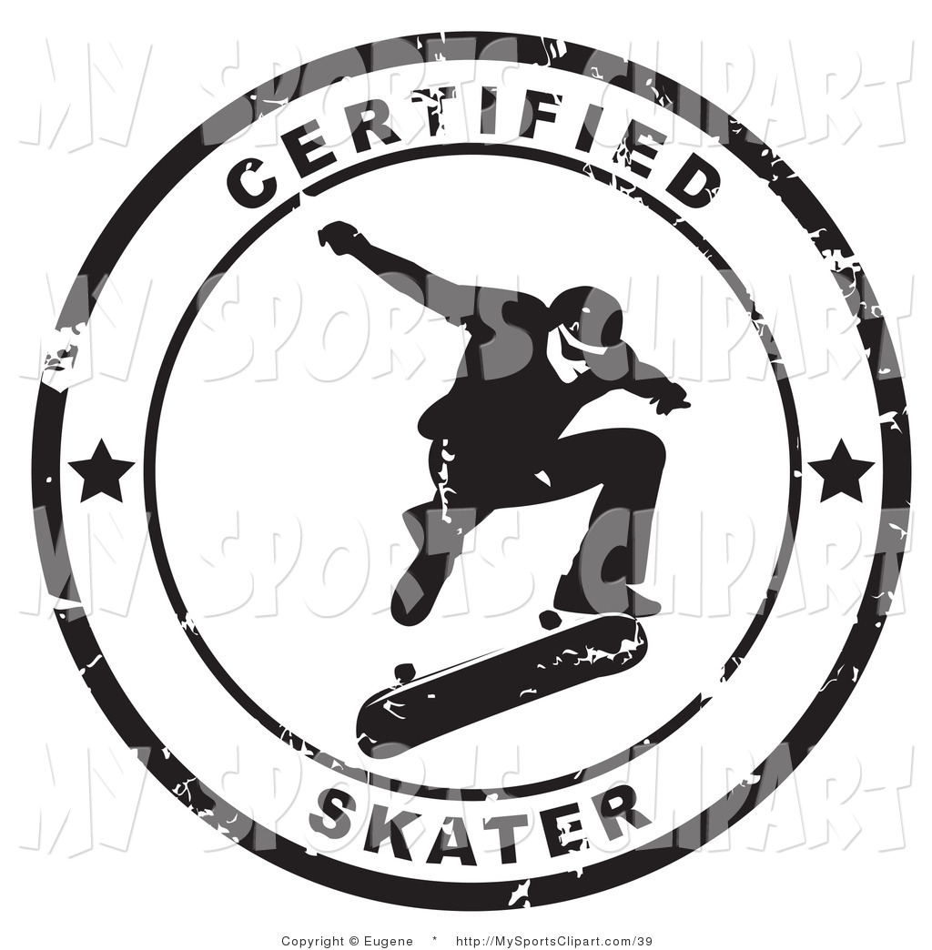 Sports Clip Art Of A Grungy Black And White Certified Skater Stamp By