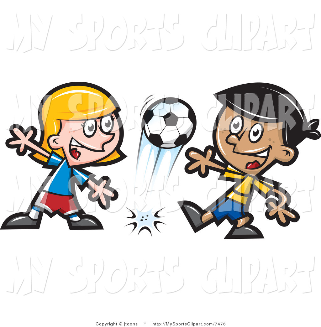 Sports Clip Art Of A Happy Children Playing Soccer Together By Jtoons