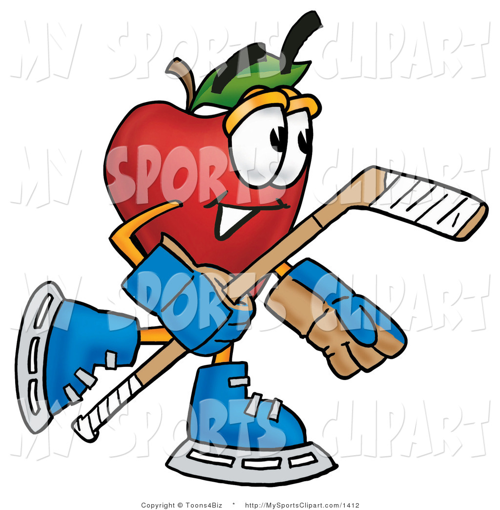 Sports Clip Art Of A Hockey Apple By Toons4biz    1412