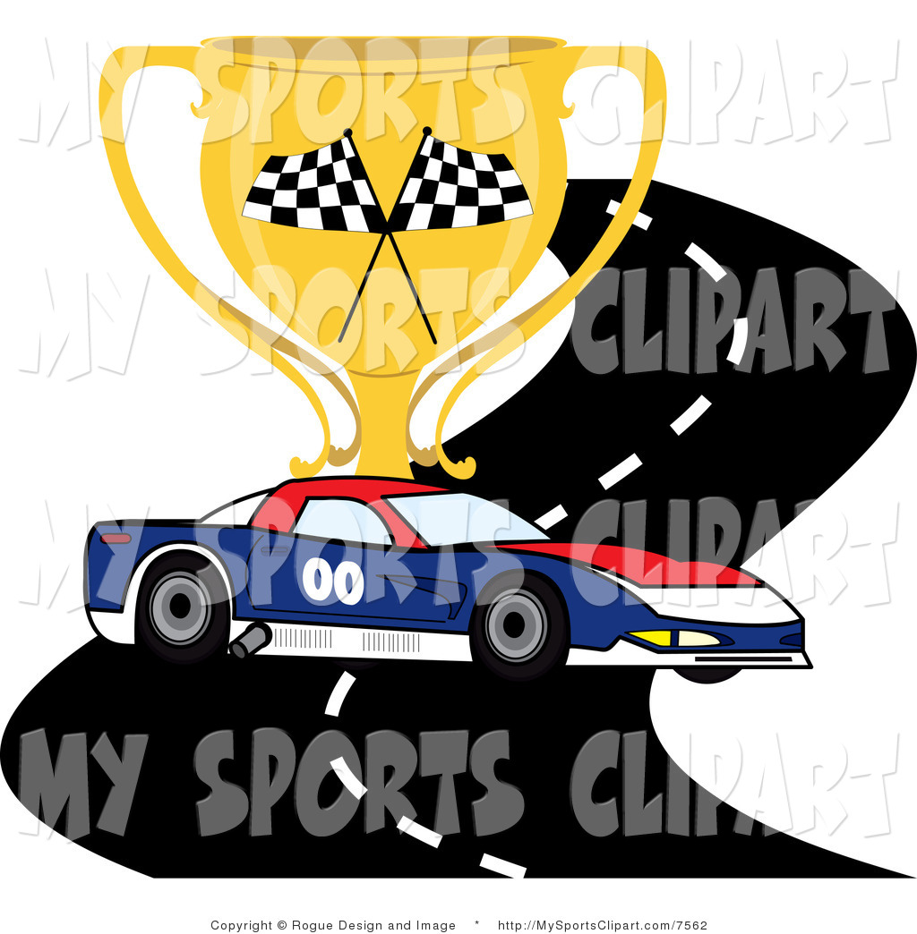 Sports Clip Art Of A Race Car On A Track With A Trophy By Pams Clipart
