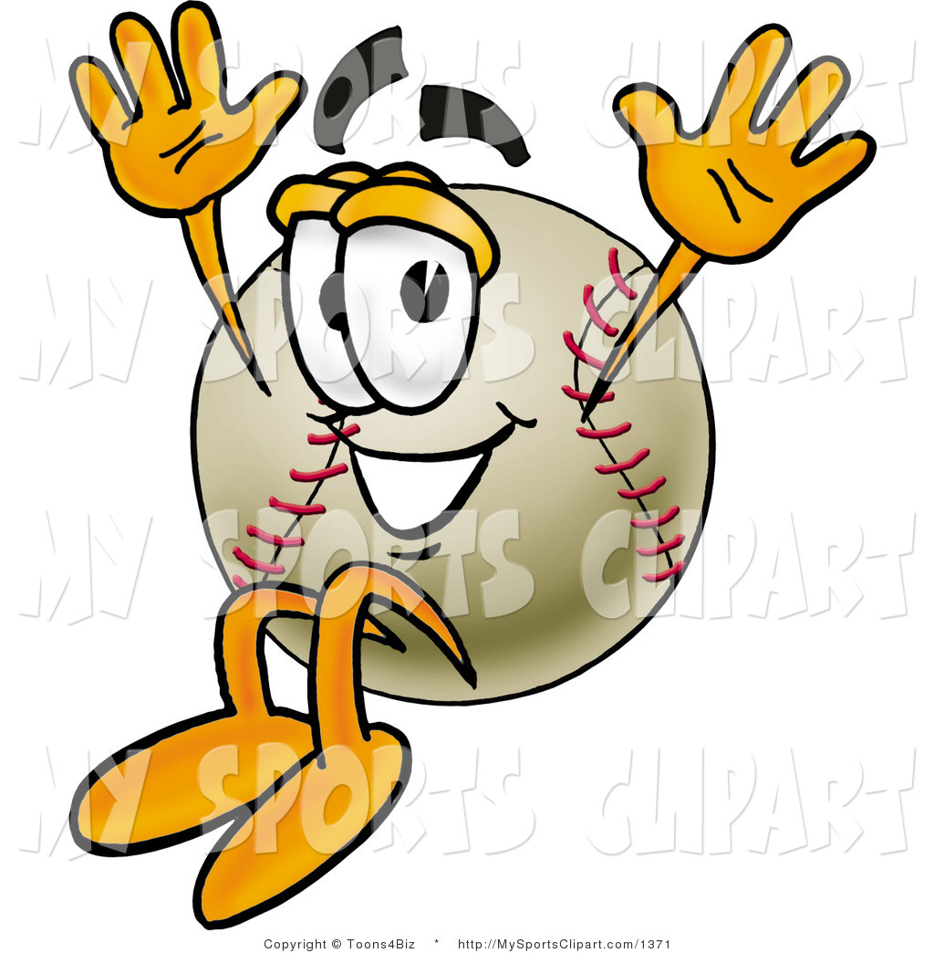 Sports Clip Art Of A Smiling Baseball Mascot Cartoon Character Jumping