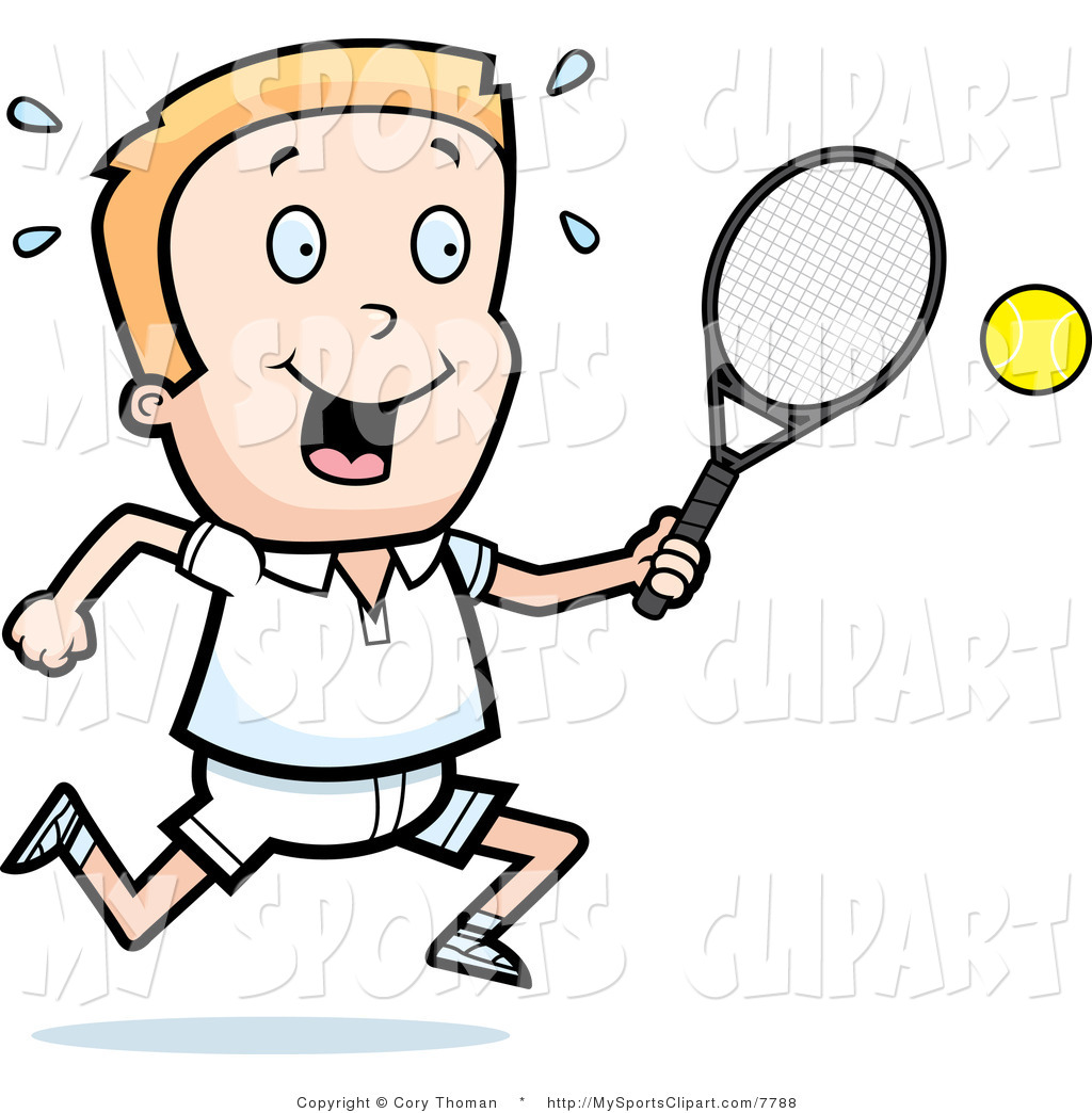 Sports Clip Art Of A Tennis Boy With A Racket And Ball By Cory Thoman