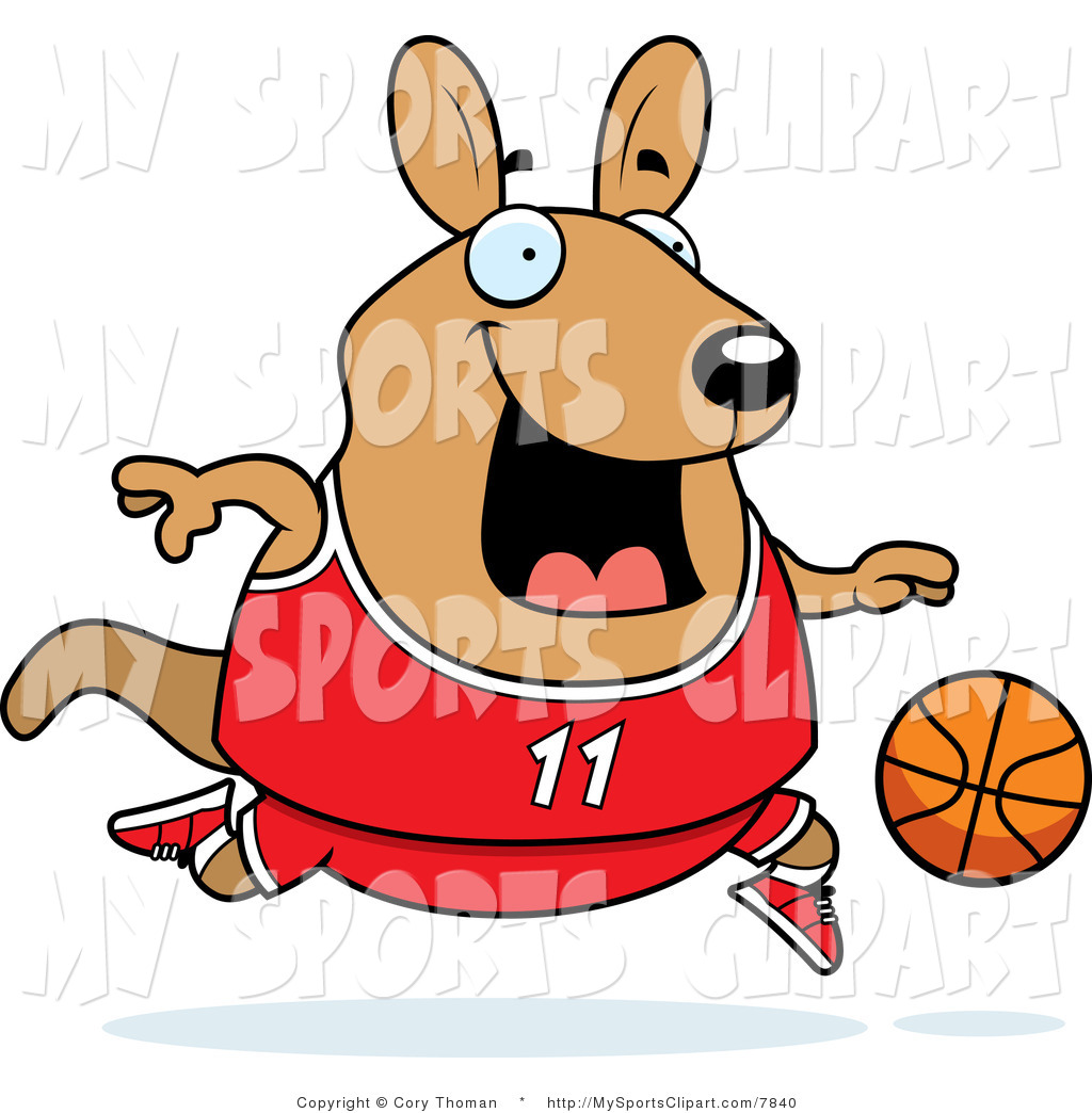 Sports Clip Art Of A Wallaby Kangaroo Playing Basketball
