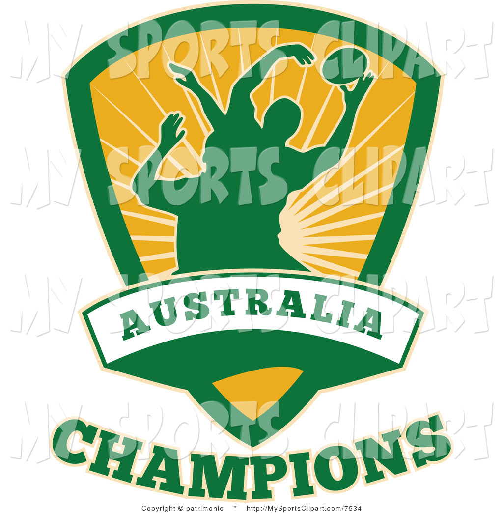 Sports Clip Art Of A Yellow And Green Australia Rugby Shield By