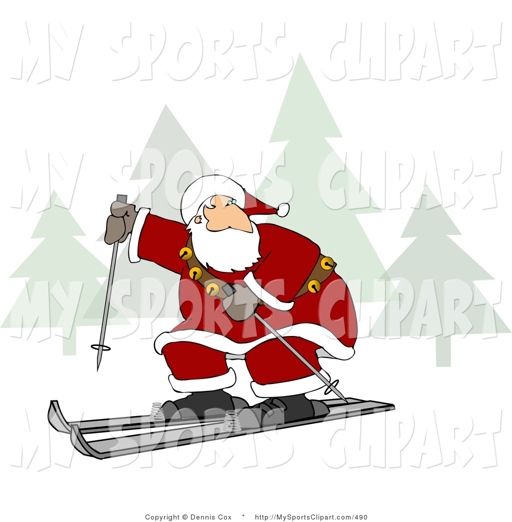 Sports Clip Art Of Santa Claus Cross Country Snow Skiing By Djart