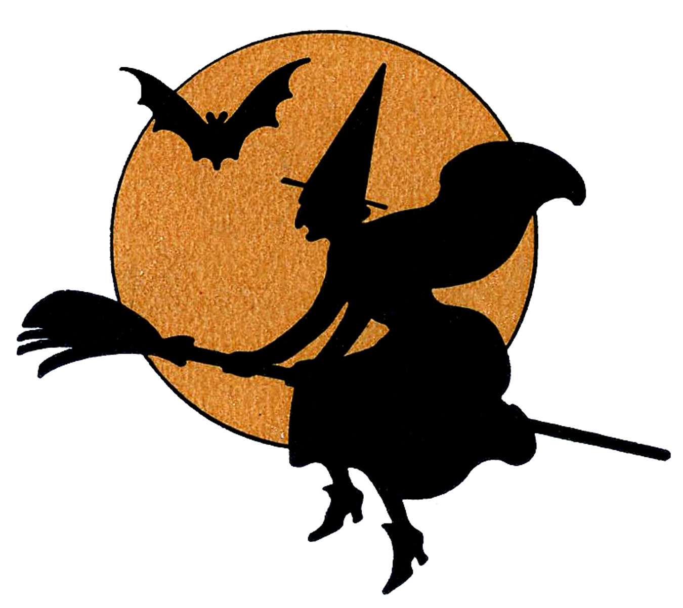 Vintage Halloween Clip Art   Witch With Moon   The Graphics Fairy