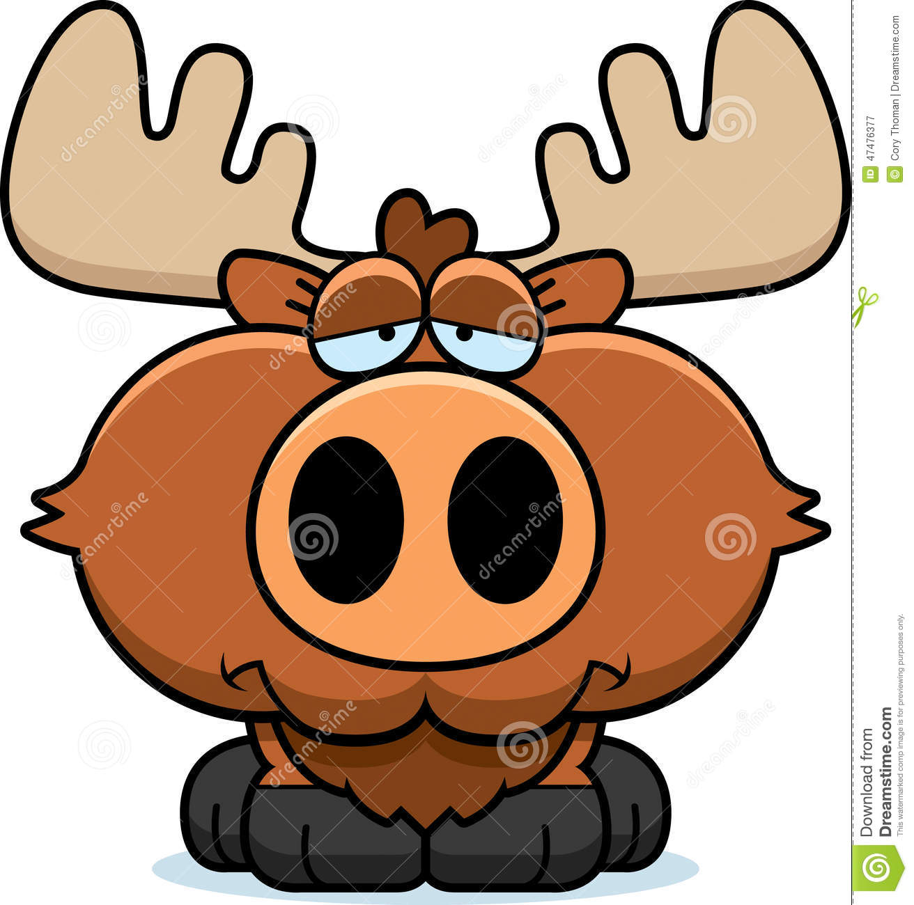 Cartoon Illustration Of A Moose With A Sad Expression