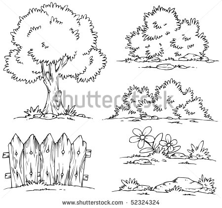 Cartoon Landscape Clipart   Coloring Stock Vector 52324324