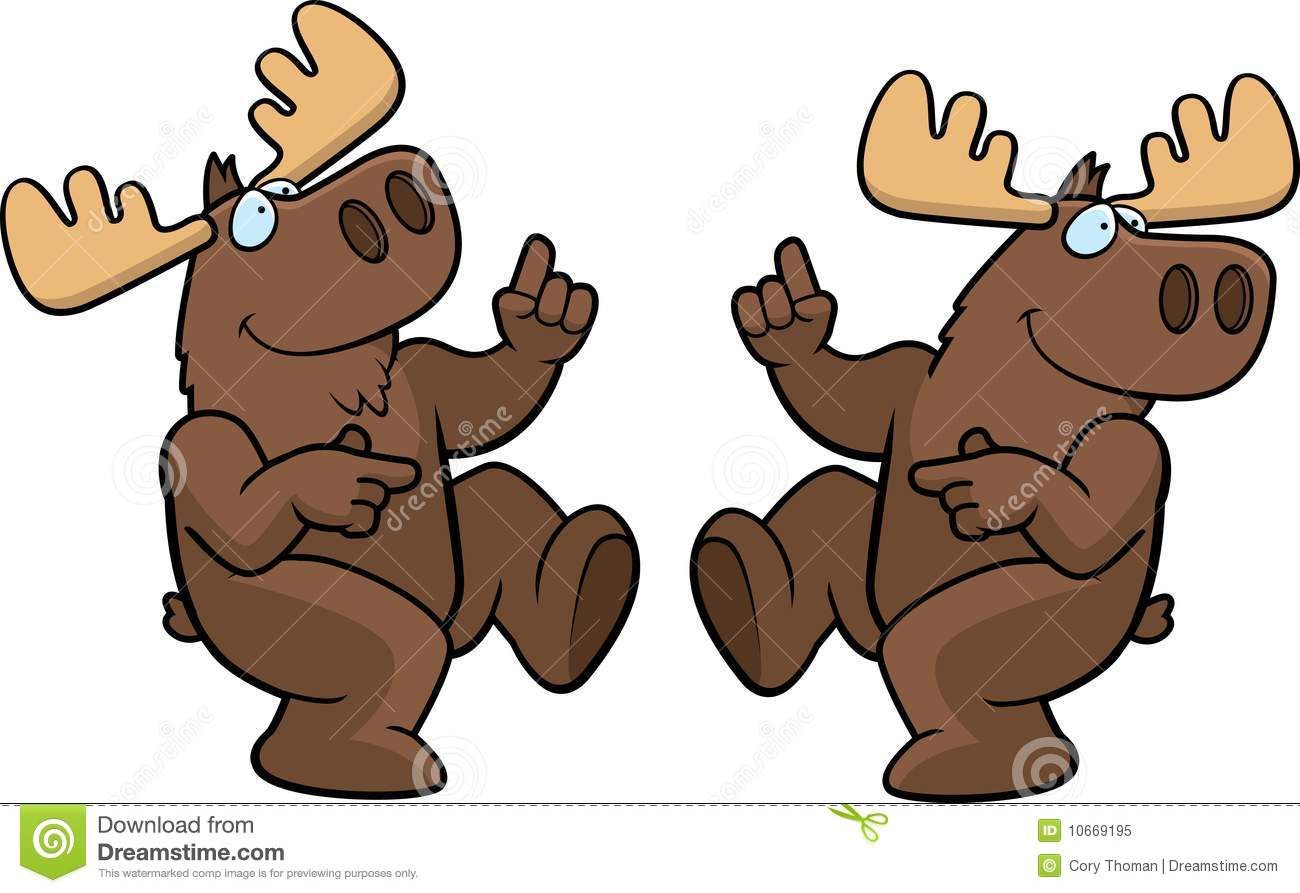 Cartoon Moose Dancing And Smiling