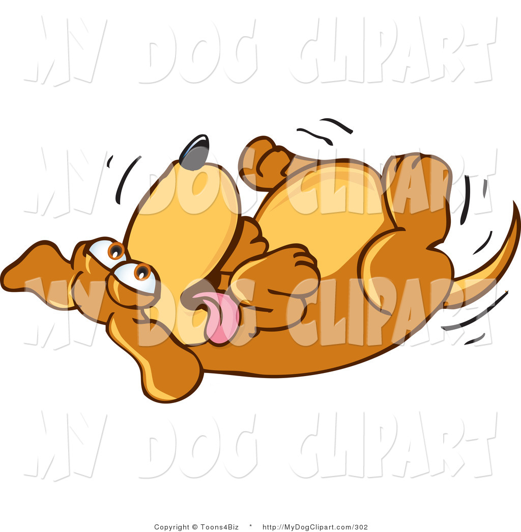 Clip Art Of An Excited Brown Dog Mascot Cartoon Character Rolling