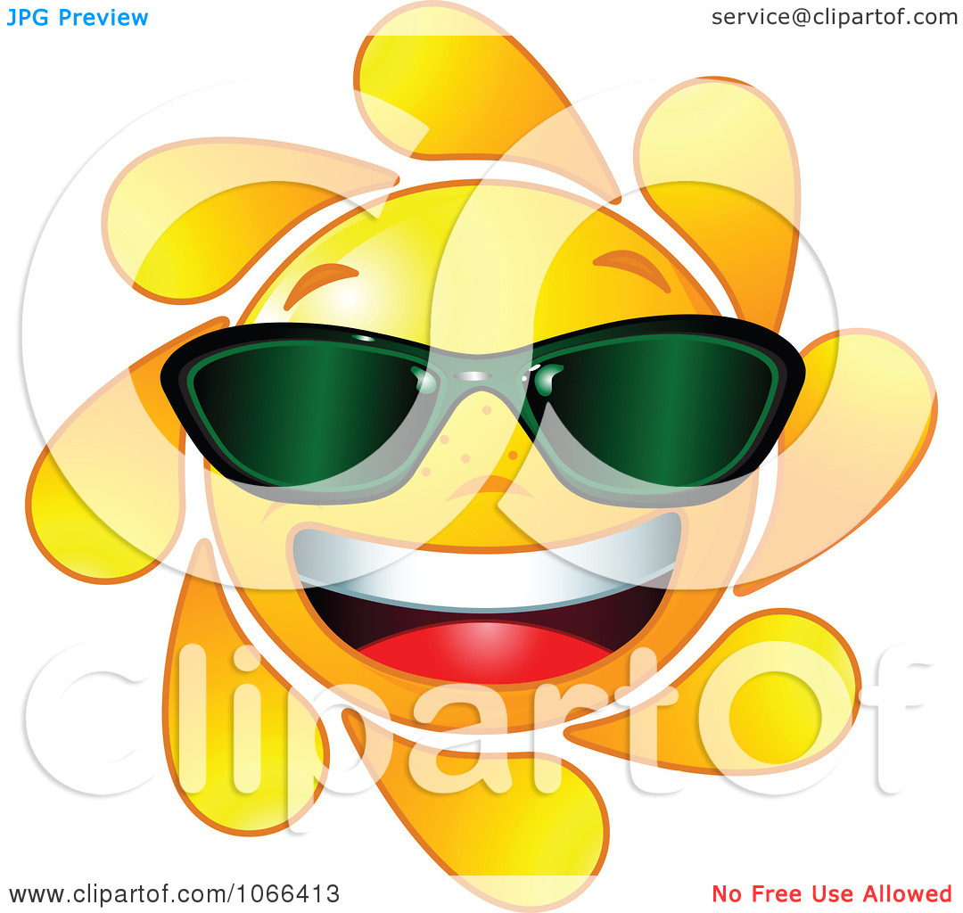 Clipart Cheery Sun Wearing Shades   Royalty Free Vector Illustration