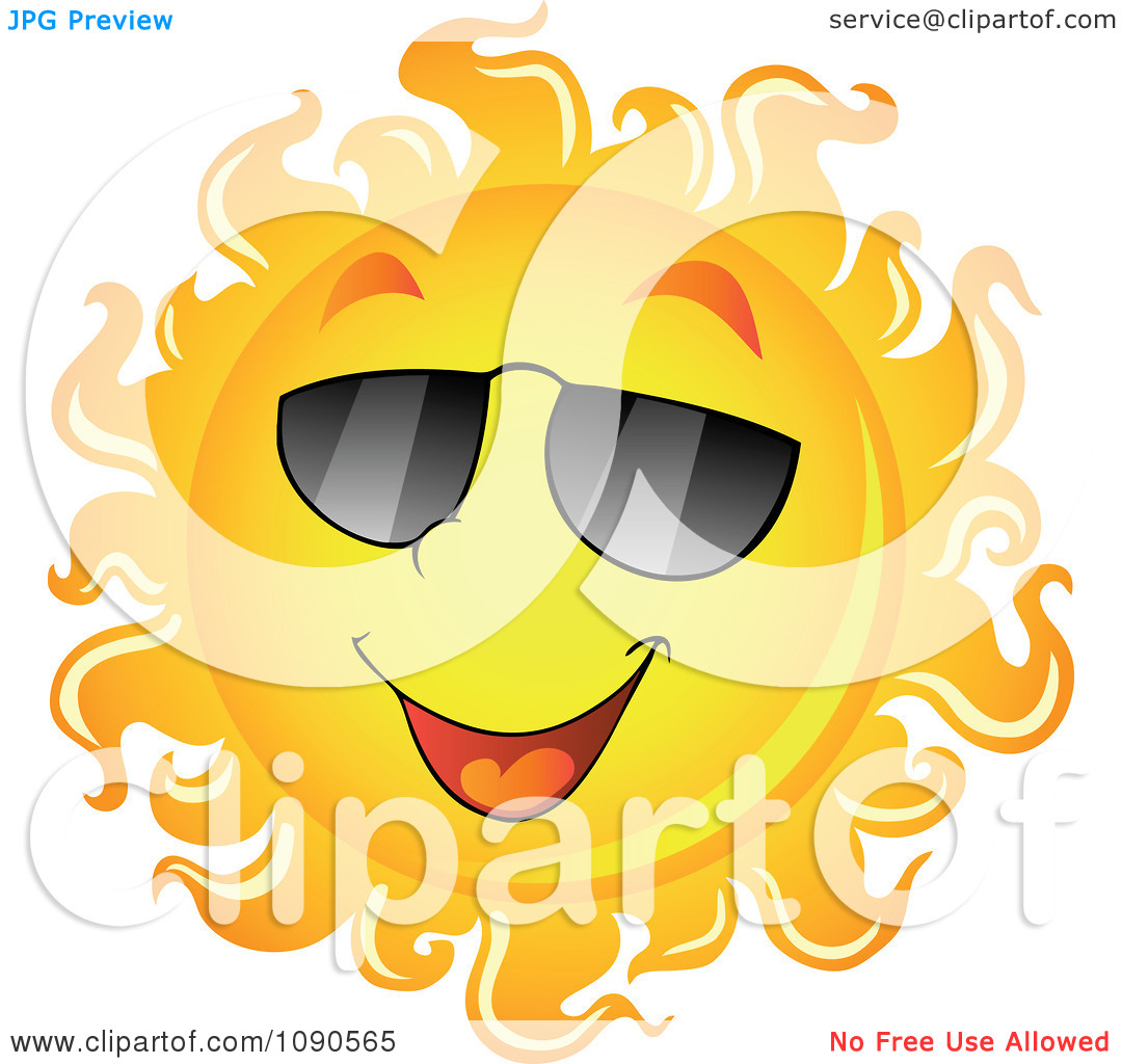 Clipart Smiling Summer Sun With Shades   Royalty Free Vector