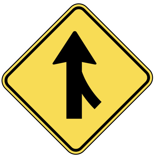 Com Travel Us Road Signs Warning Warn 2 Merging Traffic Ahead Png Html