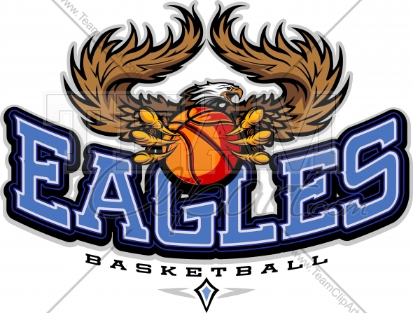 Eagles Basketball Clipart   Basketball Team Logo With Eagles Text