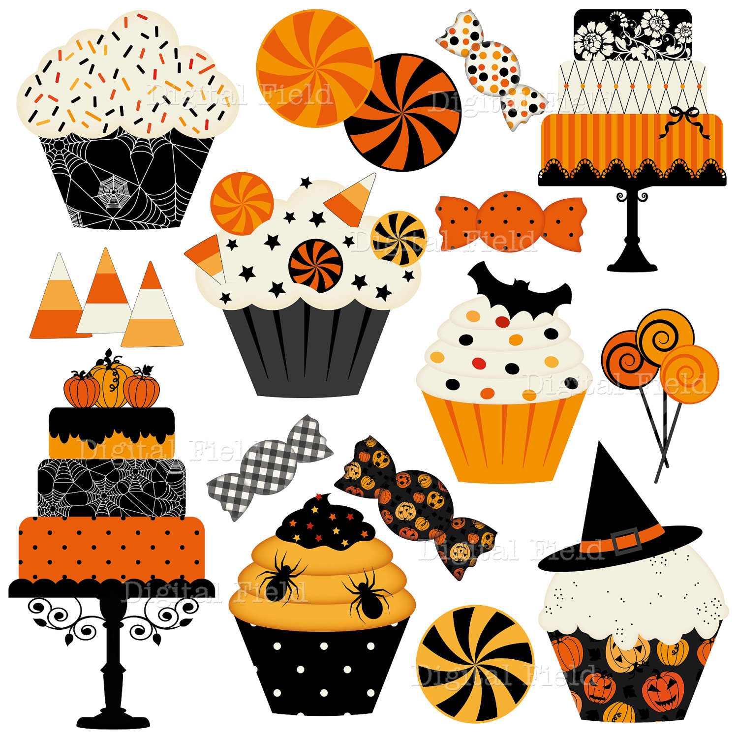 Halloween Cakes Cupcakes And Candies Clip Art Set By Digitalfield