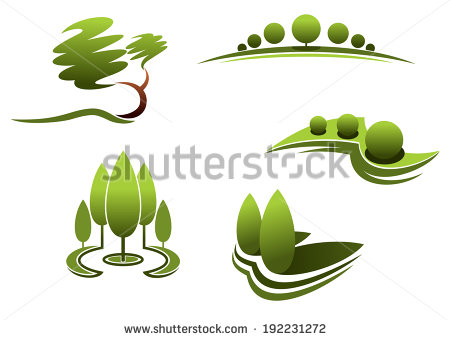 Landscape Design Logo Elements Trees Shrubs Plants Isolated On White