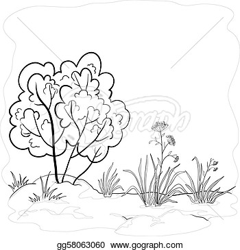 Landscape Garden With A Grass Flowers And Bush Contours  Clipart