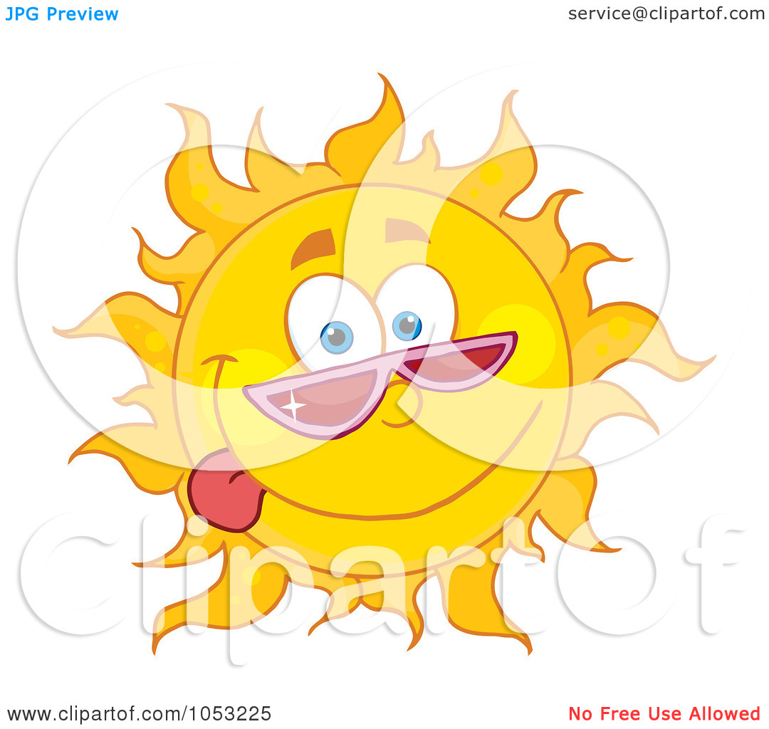 Of A Goofy Sun Wearing Shades And Sticking His Tongue Out By Hit Toon