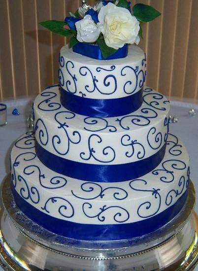 royal blue and silver wedding cakes royal blue and white