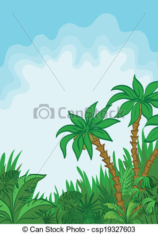Vector Clipart Of Exotic Landscape Palm And Plants   Exotic Landscape
