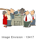 13417 Angry Group Of Employees Beating Up A Printer Clipart
