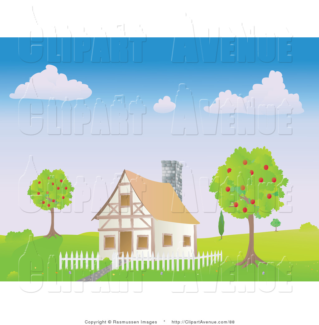 Avenue Clipart Of A Chalet House With A White Picket Fence Between Two