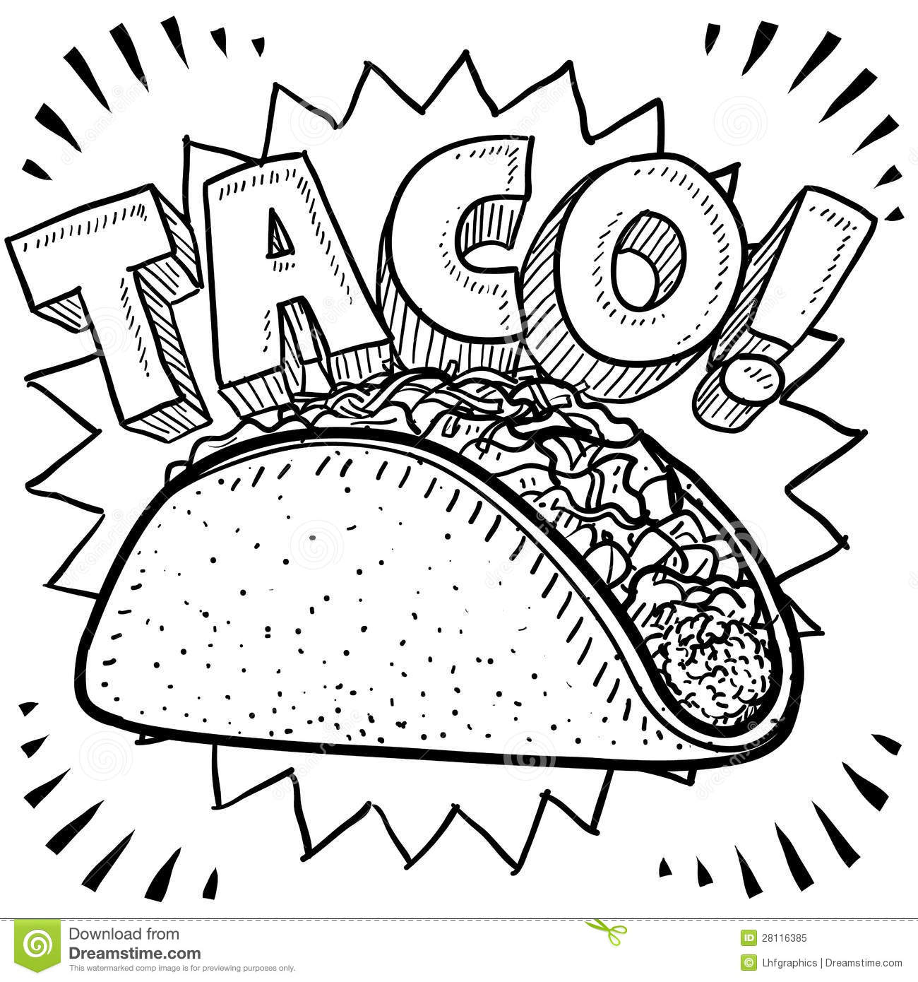 Back   Gallery For   Taco Clip Art Black And White