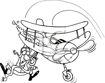 Black And White Cartoon Of A Pilot Falling Out Of His Plane   Royalty