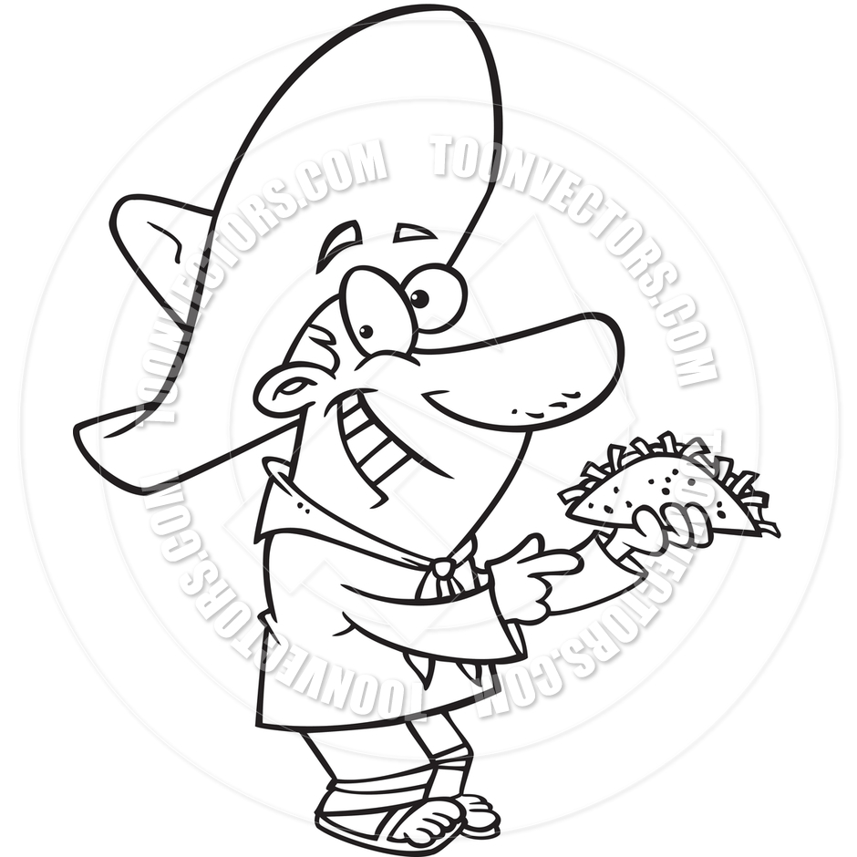 Cartoon Mexican Man With Taco  Black And White Line Art  By Ron