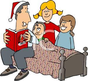 Cartoon Of A Father Reading A Christmas Story To His Children Before