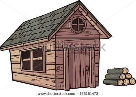 Cartoon Wooden Cabin  Vector Clip Art Illustration With Simple