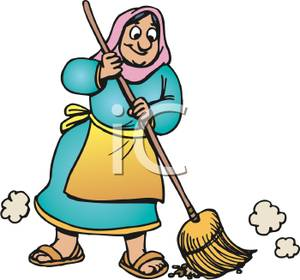 Clipart Picture  A Peasant Woman Sweeping