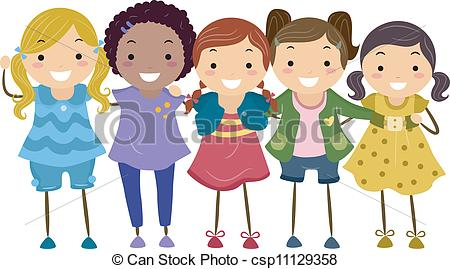Group Of Girls Clipart - Clipart Kid