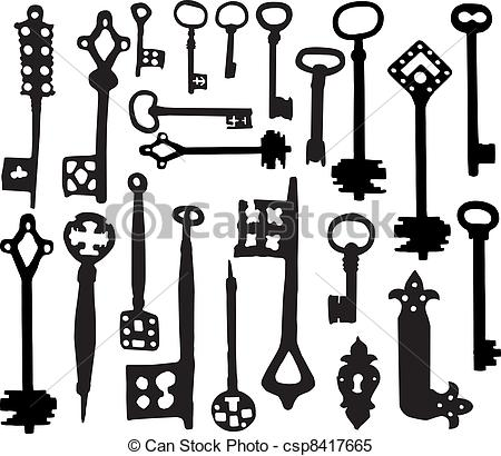 Clipart Vector Of Old Fashioned Skeleton Keys   Vector Silhoutte Of