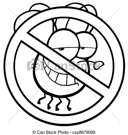 Cute Fly Clipart Vector   Outlined Stop Fly
