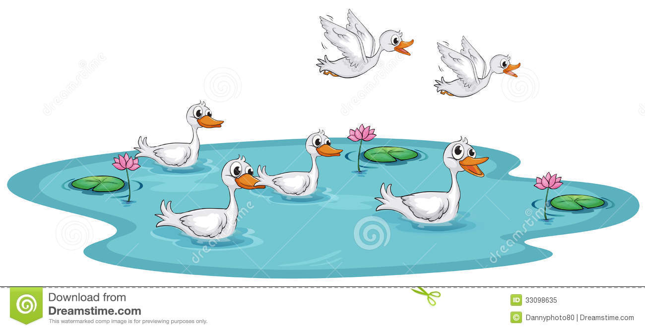 Illustration Of A Group Of Ducks At The Pond On A White Background