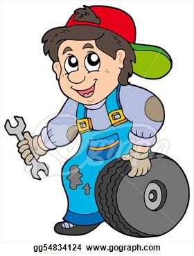 Mechanic On White Background   Isolated Illustration  Clipart Drawing