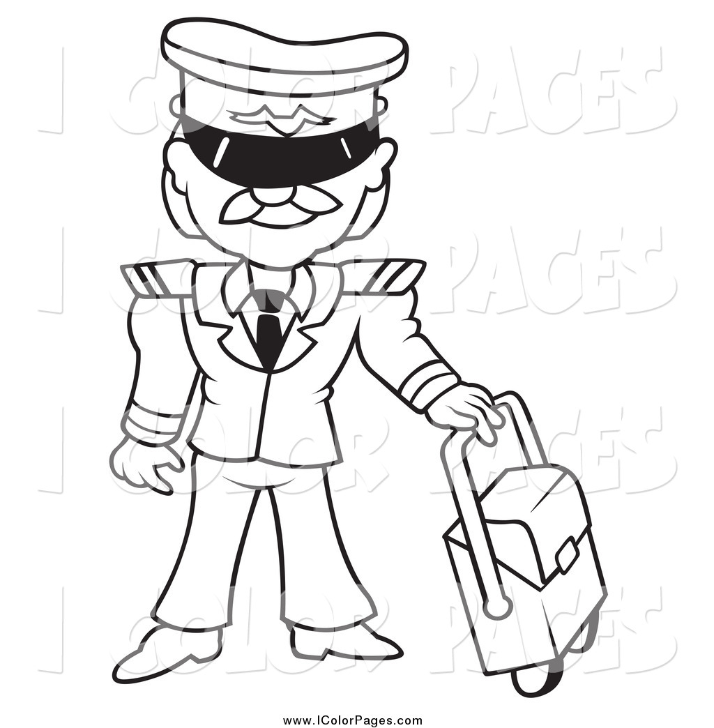 Pilot Clipart Black And White Black And White Male Pilot