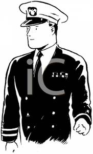 Royalty Free Clipart Image  Black And White Pilot