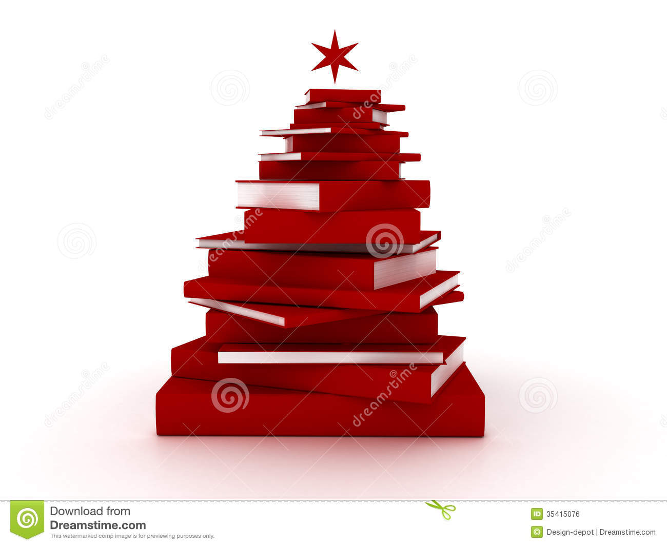 Royalty Free Stock Image  Red Books Christmas Tree