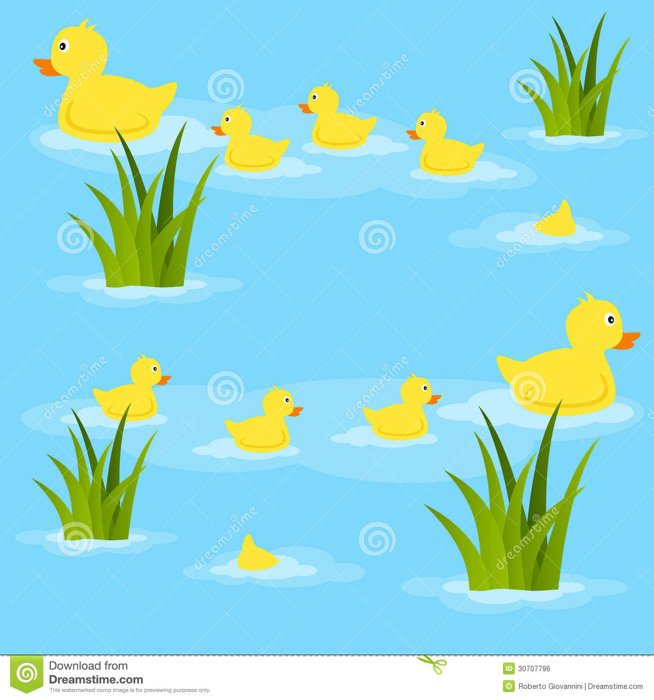 Seamless Pattern With Ducks And Ducklings Swimming In A Pond  Useful