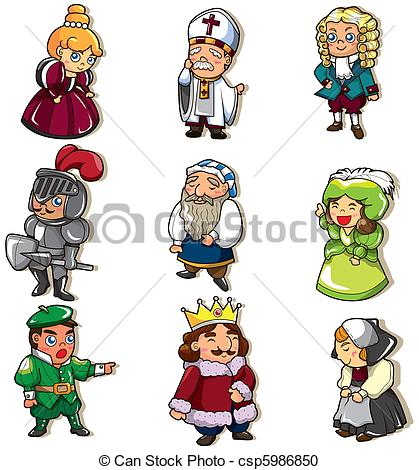 Vector   Cartoon Medieval People Icon   Stock Illustration Royalty