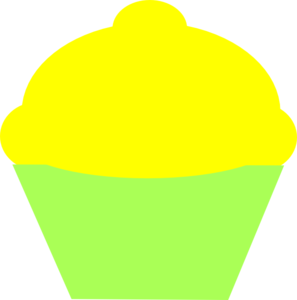 Yellow Icing Cupcake With Green Wrapper Clip Art At Clker Com   Vector