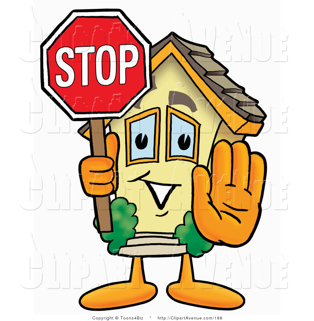 Avenue Clipart Of A Home Mascot Cartoon Character Holding A Stop Sign