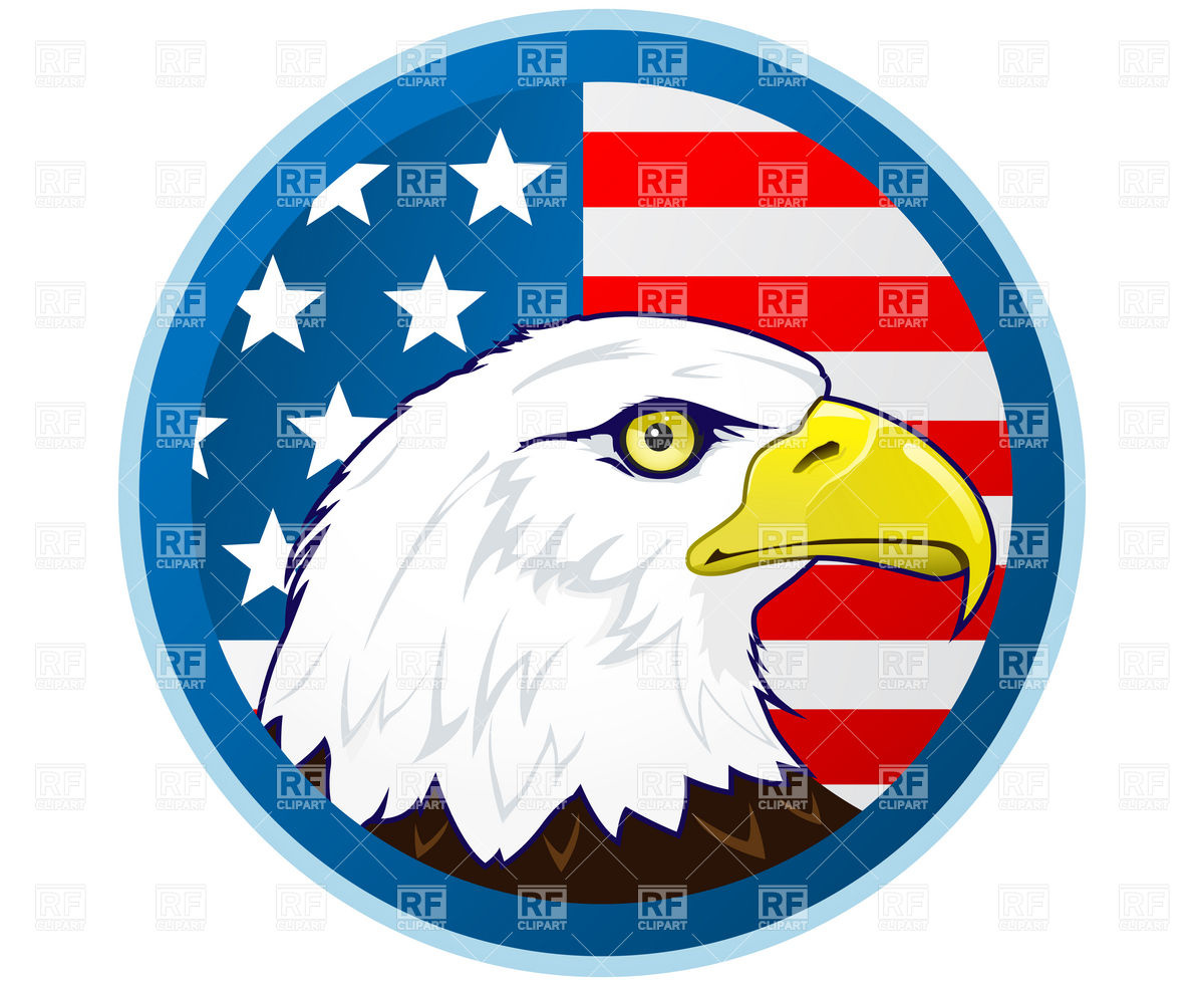 Bald Eagle And American Flag Download Royalty Free Vector Clipart