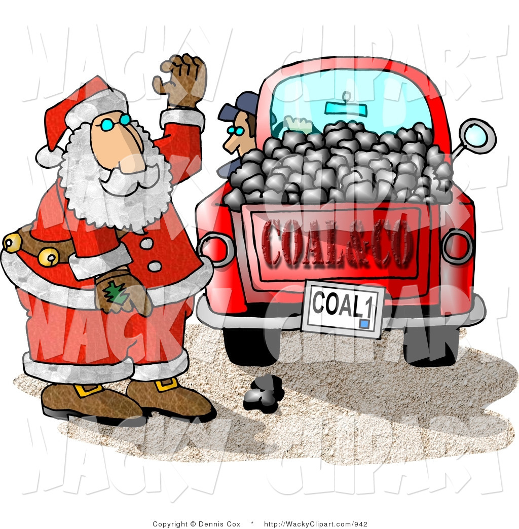 Clipart Of Santa Claus With A Truck Of Black Coal Ready For Delivery