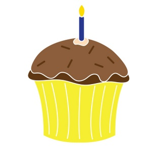 Cupcake Clipart Image   A Yellow Birthday Cupcake With Chocolate