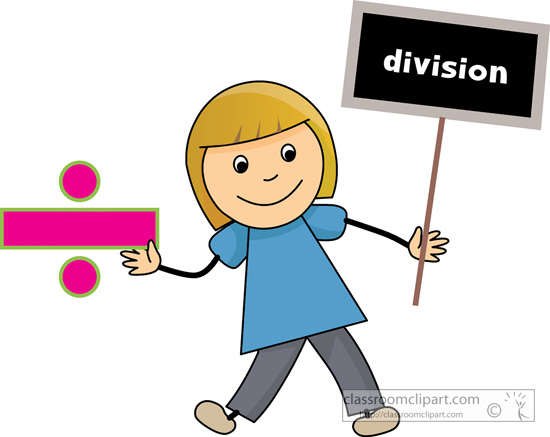 Mathematics   Girl Holding Division Math Sign   Classroom Clipart